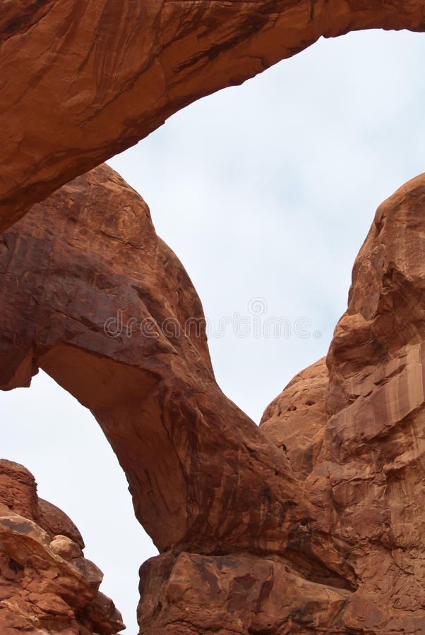 The Double Arch. At the Arches National Park near Moab, Utah, USA stock images