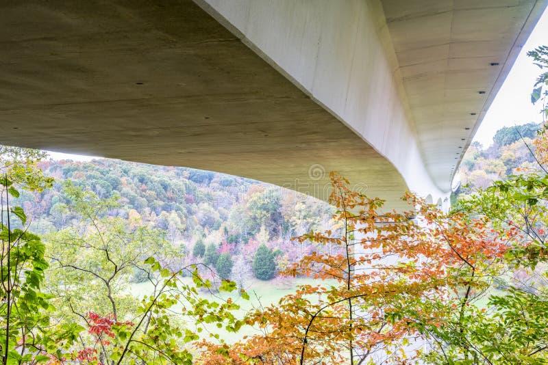 Double Arch Bridge at Natchez Trace Parkway. Near Franklin, TN, fall scenery stock photo