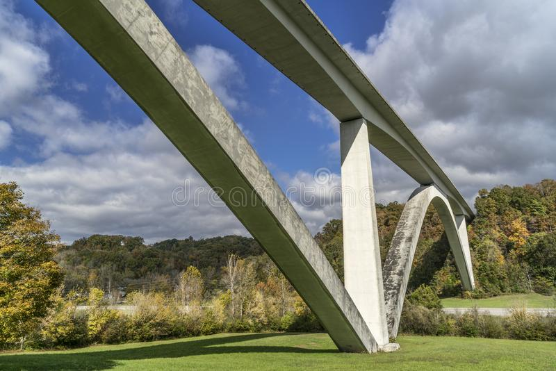 Double Arch Bridge at Natchez Trace Parkway. Near Franklin, TN, fall scenery stock photo