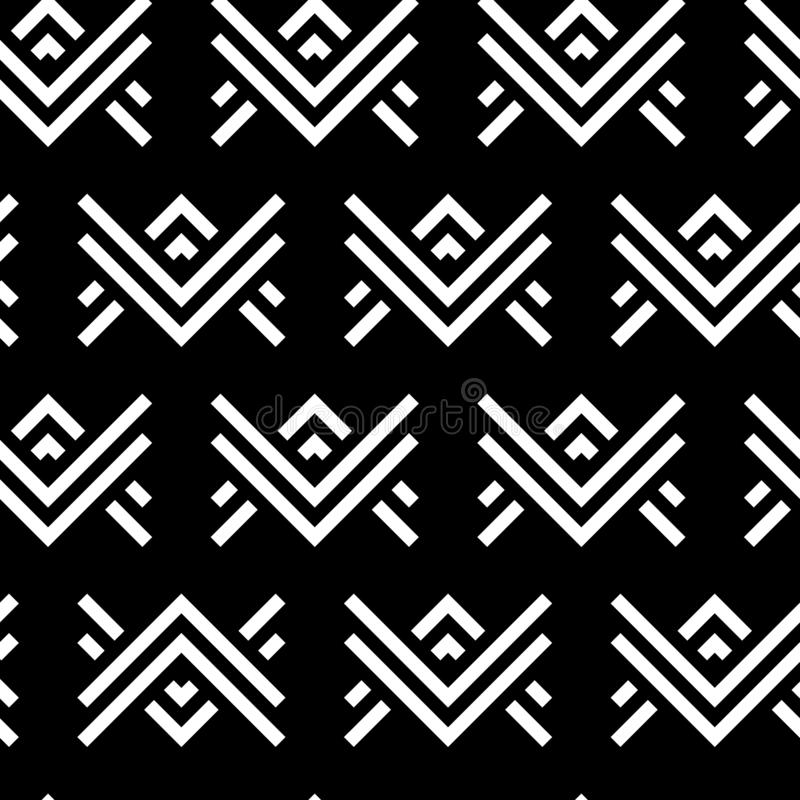 Double Arrow Black White modern geometric vector pattern. Perfect for trending black and white home decor and fashion stock illustration