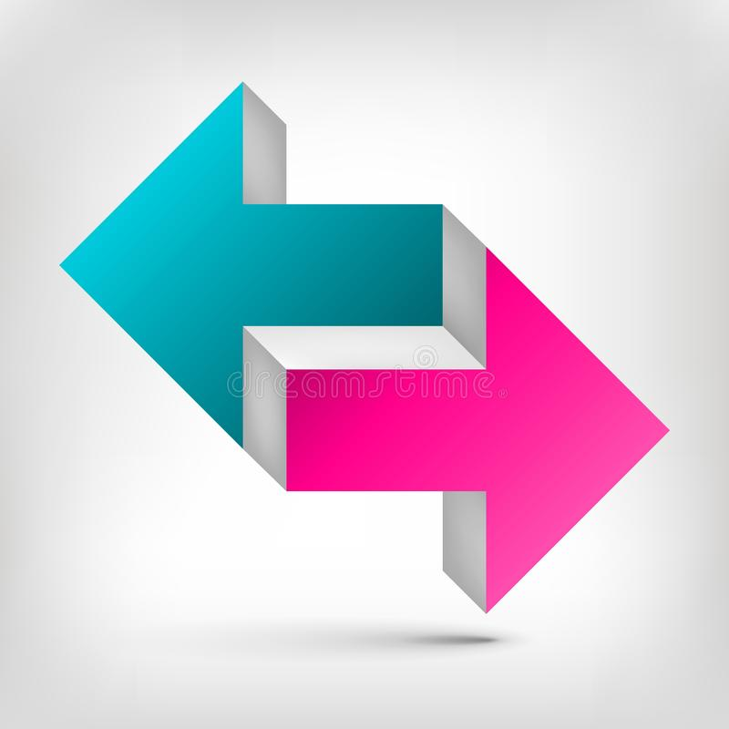 Double arrow. Unreal object. Color Pointer in two directions. Vector design element for you project stock illustration