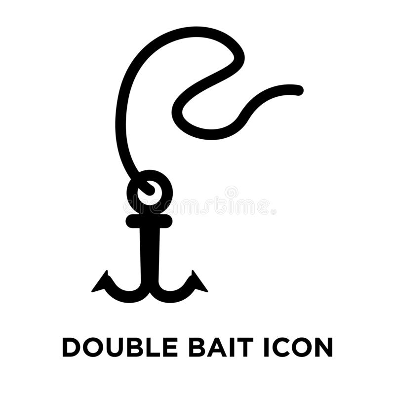 Double Bait icon vector isolated on white background, logo concept of Double Bait sign on transparent background, black filled stock illustration