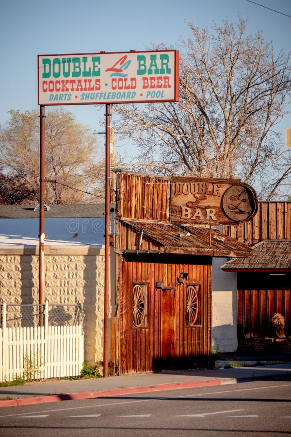 Double bar in the historic village of Lone Pine - LONE PINE CA, USA - MARCH 29, 2019. Double bar in the historic village of Lone Pine - LONE PINE CA, UNITED royalty free stock photo