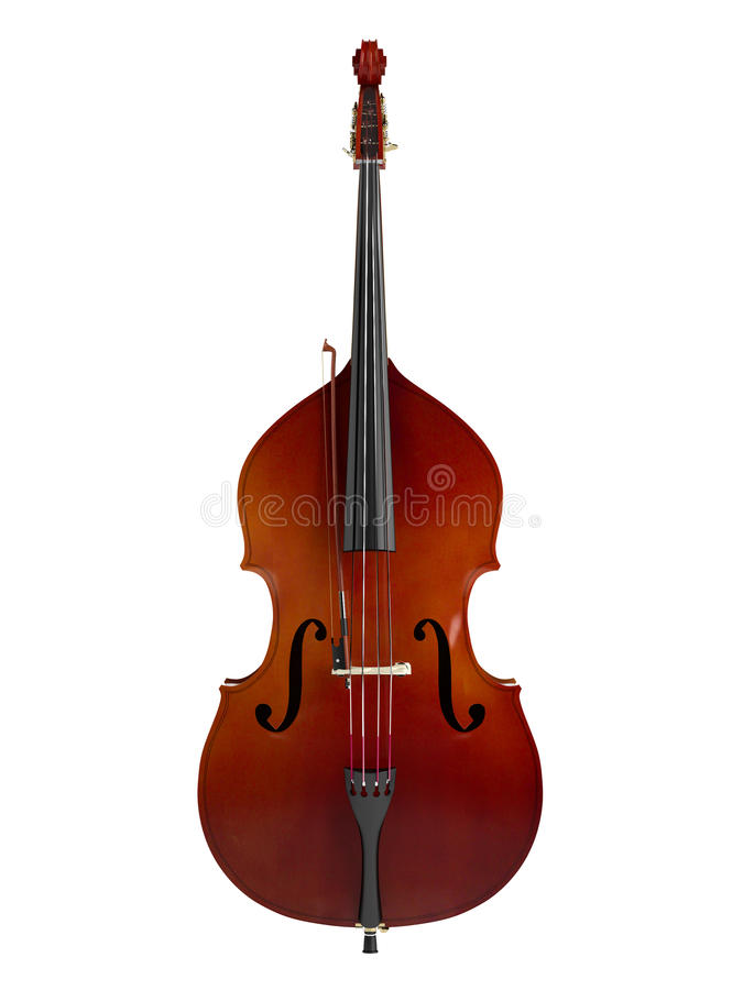 Double bass. Or string bass, upright bass, standup bass or contrabass isolated on white background vector illustration