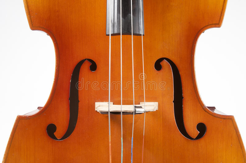 Double bass. Bass, detail on a white background stock image