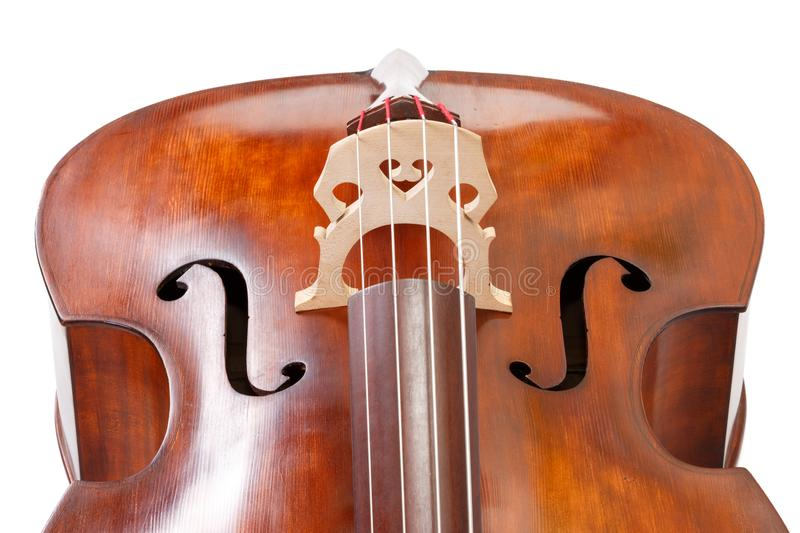 Double bass detail on white royalty free stock image