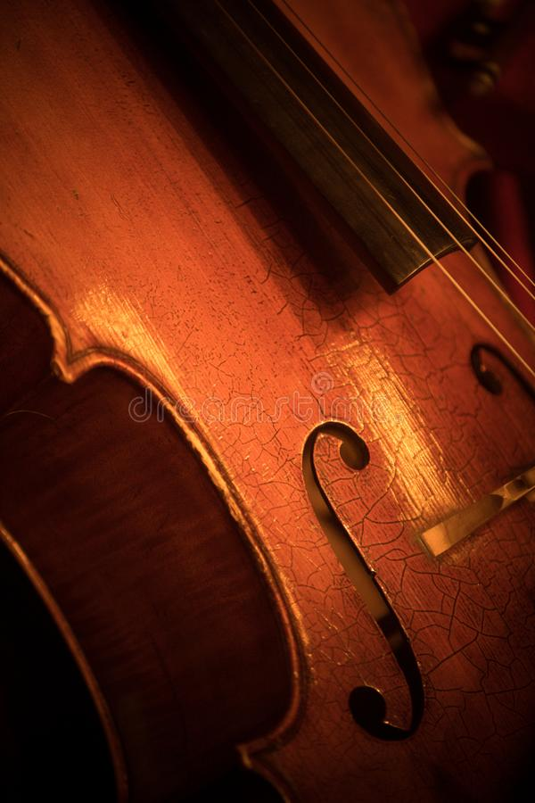 Double bass f hole. Close up shot of a double bass f hole royalty free stock image