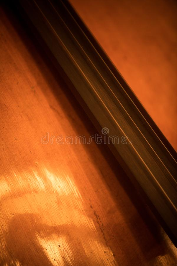 Double bass fret board. Close up shot of the fret board of a double bass royalty free stock photos