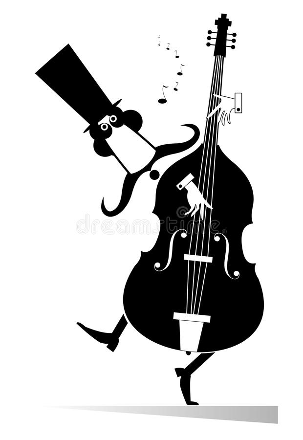 Double bass musician. Funny mustached man in the top hat performing music on double bass royalty free illustration