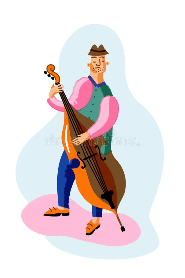 Double bass player cartoon character. Professional musician playing string acoustic instrument, improvisation. Classical music concert, jazz festival royalty free illustration