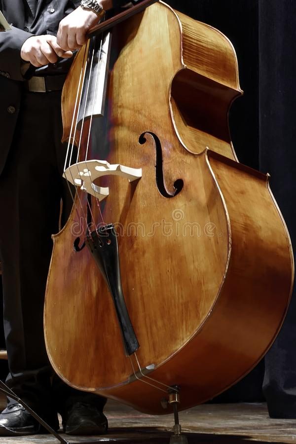 Double bass player at a classical music concert stock photography