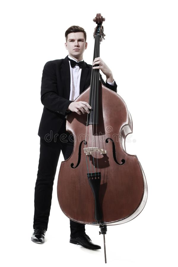 Double bass player playing contrabass royalty free stock photos