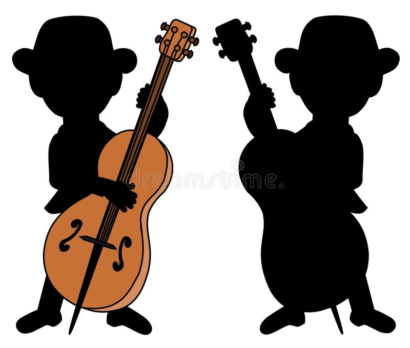 Double bass player silhouettes royalty free stock image
