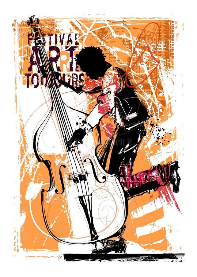Double bass player. Vector illustration stock illustration