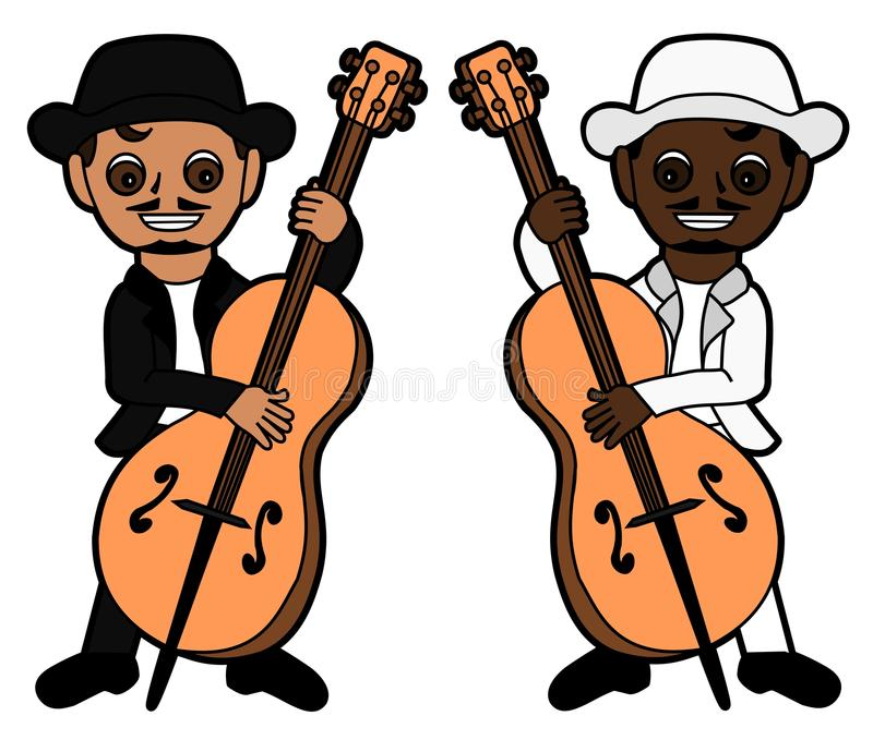 Double bass players stock images