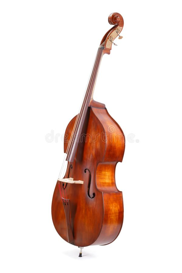 Double bass. On white background royalty free stock image