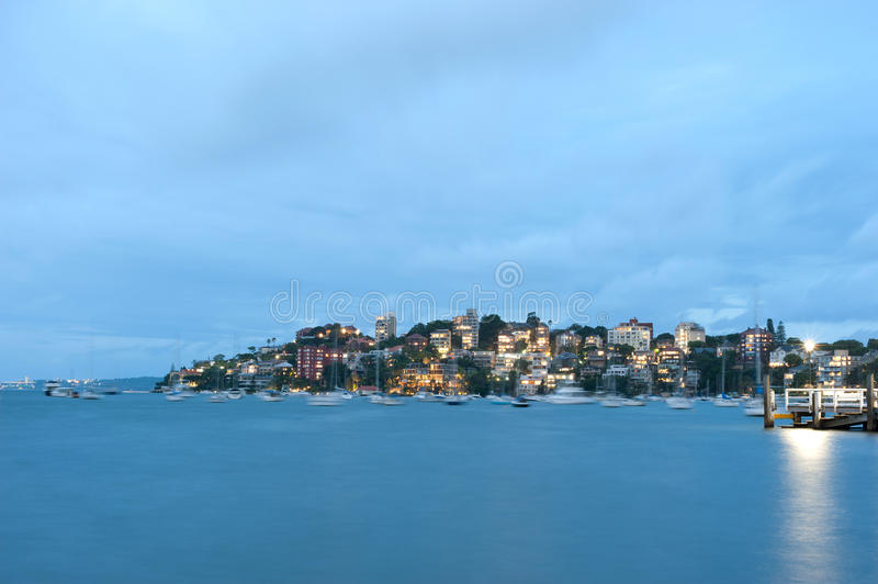 Double Bay, Sydney, Australia. This image shows Double Bay at night, Sydney, Australia stock photography