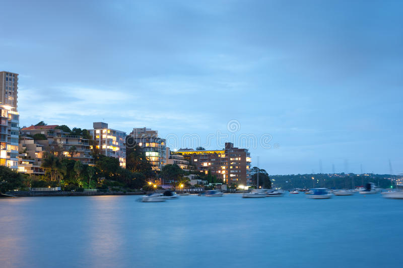 Double Bay, Sydney, Australia. This image shows Double Bay at night, Sydney, Australia royalty free stock photo