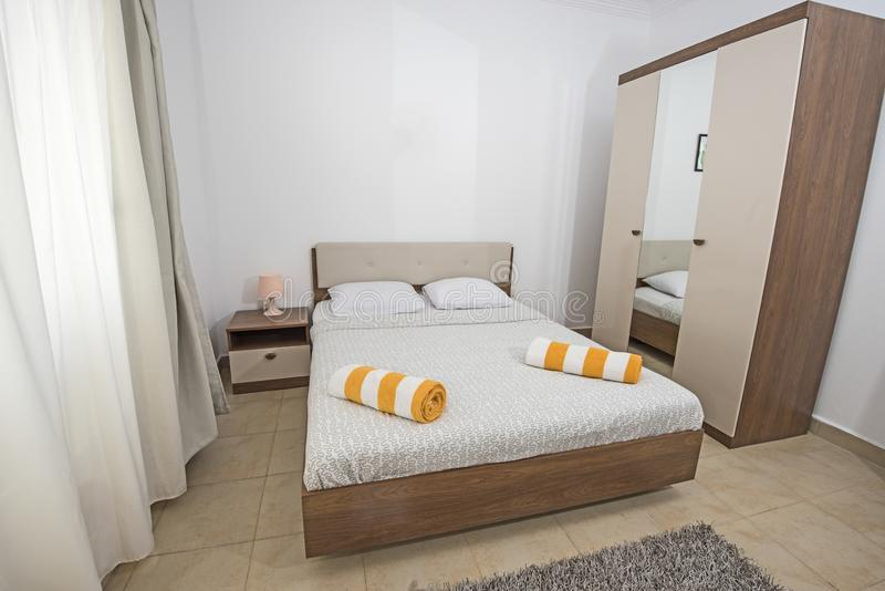 Double bed in a luxury apartment stock images