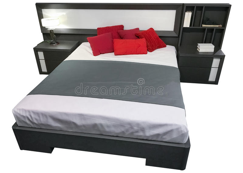 Double bed with bedside tables isolated on white background stock image