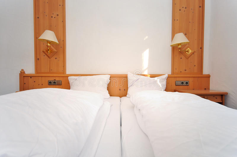 Double bed hotel room royalty free stock photography