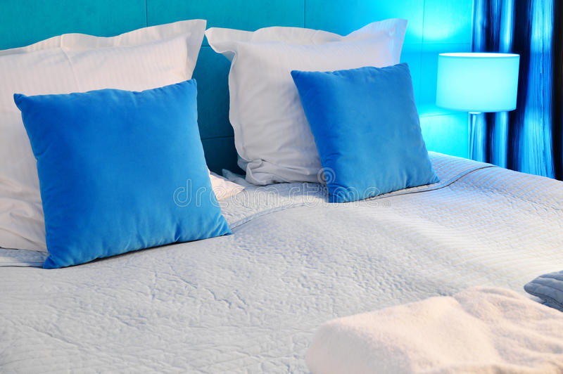 Double bed in hotel room. Accommodation royalty free stock photos