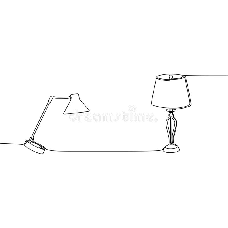double bed lamps Universal lamp continuous line to use for web and mobile, set of basic lamp isolated vector illustration royalty free illustration