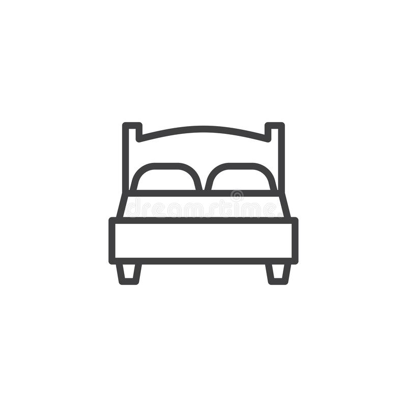 Double bed line icon. Linear style sign for mobile concept and web design. Double hotel room outline vector icon. Travel symbol, logo illustration. Pixel royalty free illustration