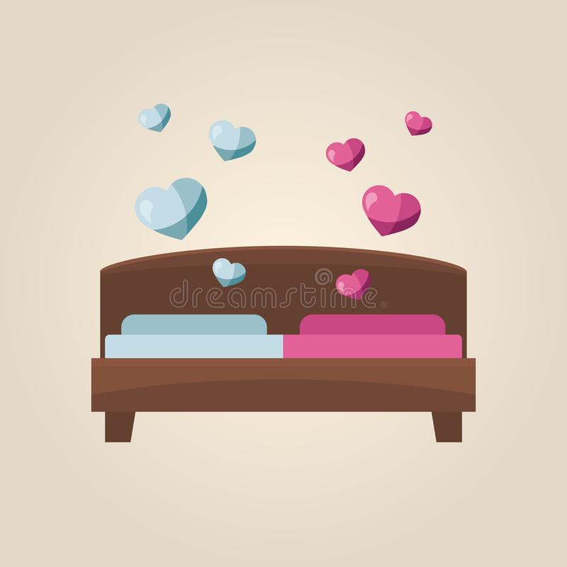 Double bed of love and romance. Bedroom concept. Flat vector stock illustration