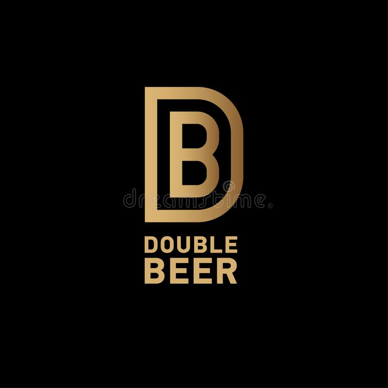 Bb Letter Beer Pub Logo Beer And Burger Pub Emblem Monogram Double B In A Circle On A Yellow Background Stock Vector Illustration Of Line Graphic 125043063