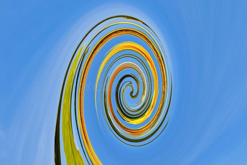 Double bleu en spirale de structure de résumé, grenn jaune photos stock