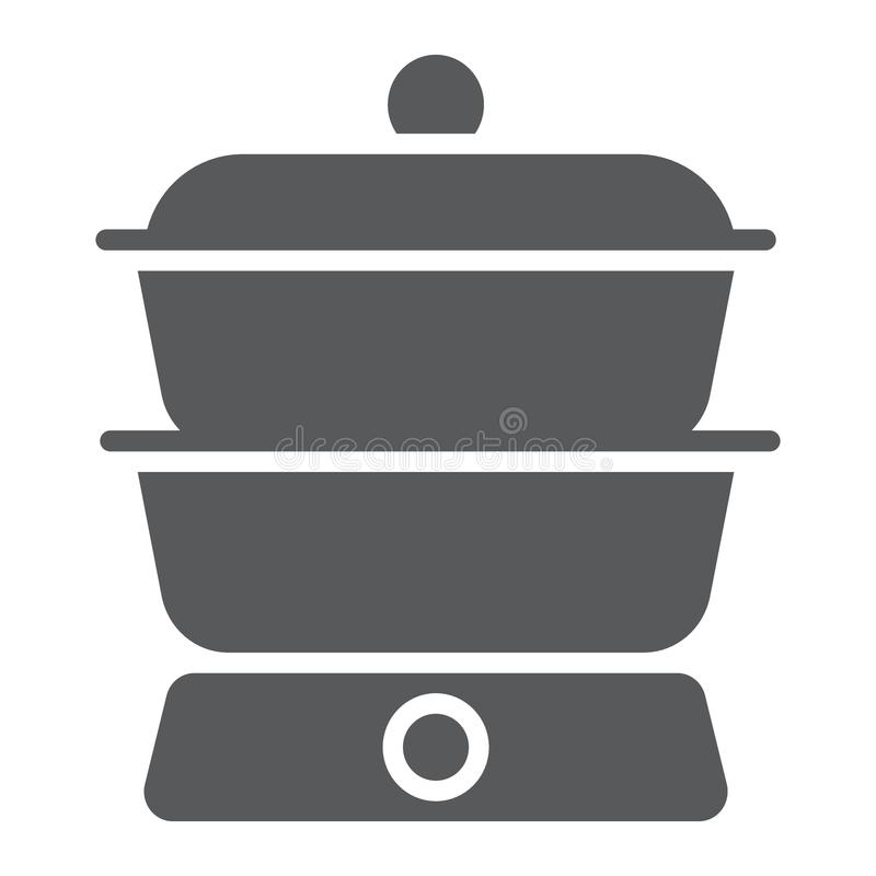 Double boiler glyph icon, kitchen and cooking vector illustration