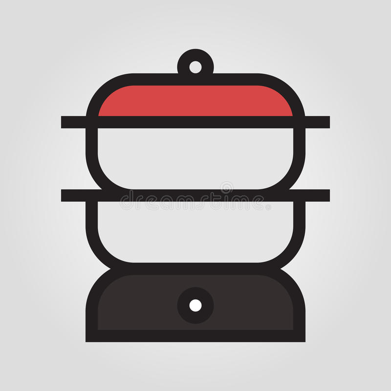 Double Boiler Icon In Trendy Flat Style Isolated On Grey