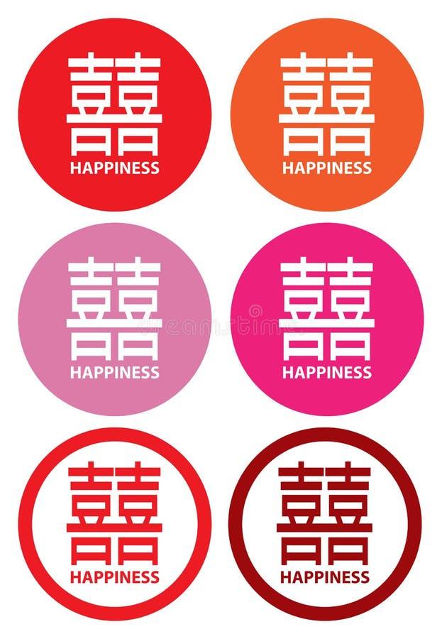Double bonheur pour le mariage et le mariage chinois illustration stock