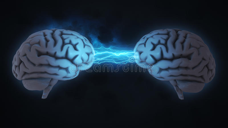 Double Brainstorm With Clouds And Lightning Stock Illustration ...