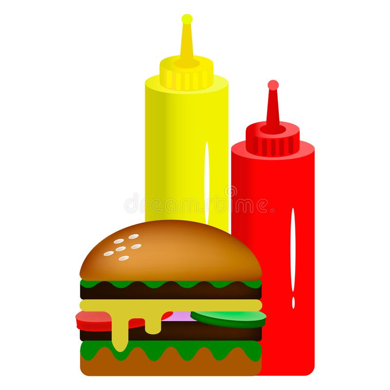 Double burger with sauces royalty free stock image