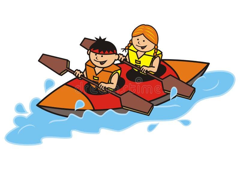 Double canoe. Boy and girl. Smiling children paddling vector illustration