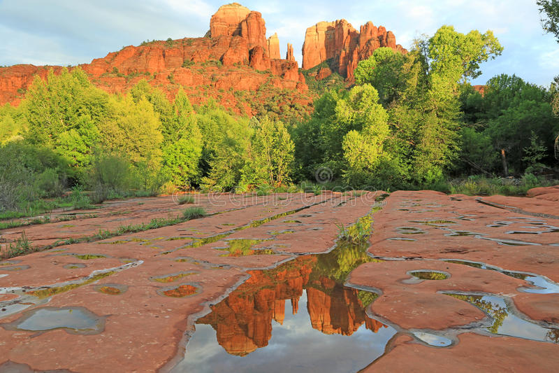 Double Cathedral Rock. View at Cathedral Rock , Sedona, Arizona Scenic on Caribbean Sea in Jamaica stock photography