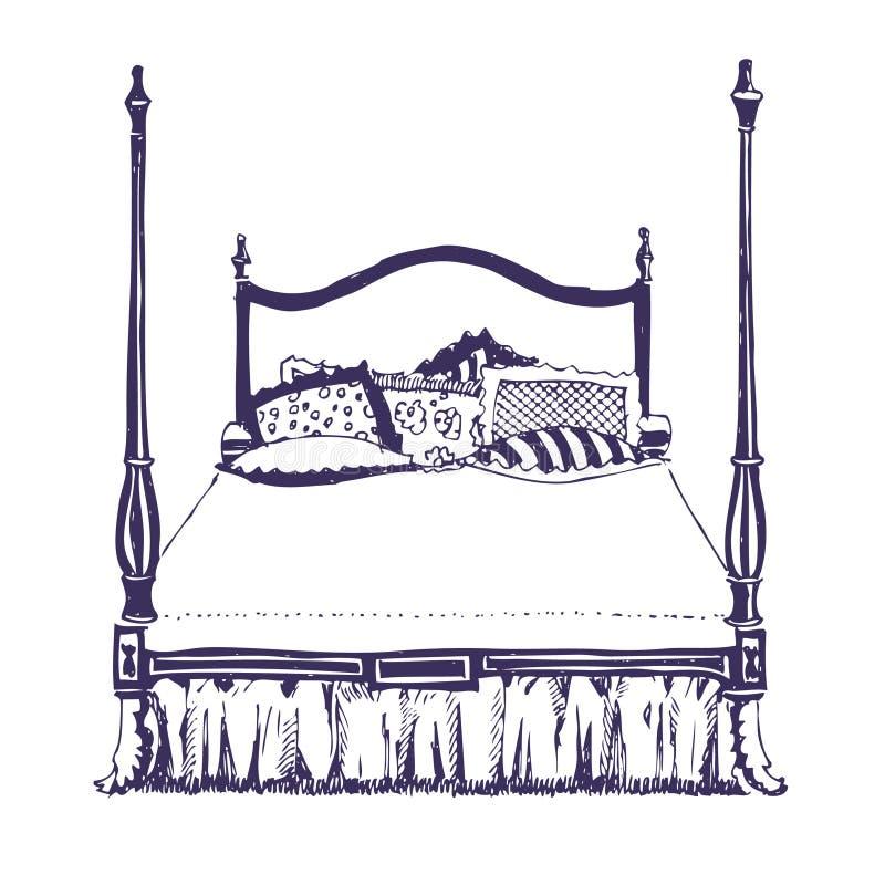 Double chambre à coucher moderne avec les meubles en bois illustration stock
