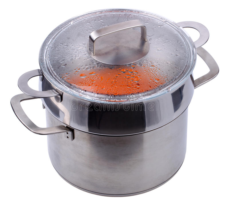 Double chaudière pour le cuiseur de gaz d'isolement photos stock