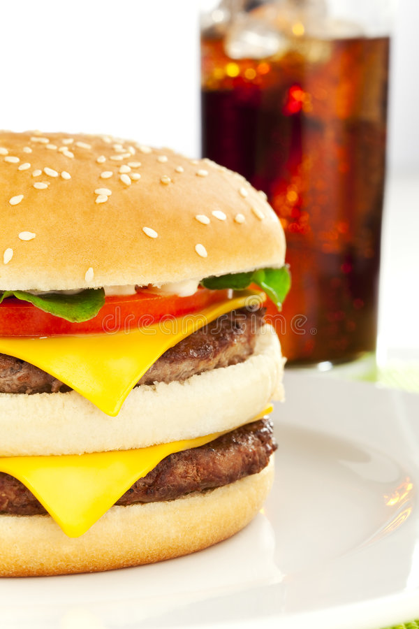 Double Cheese Burger Stock Image Image Of Flames