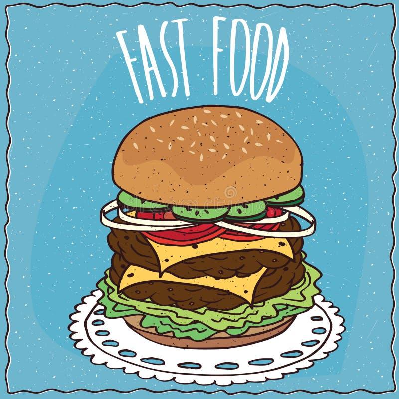 Double cheeseburger dans le style fait main de bande dessinée illustration de vecteur
