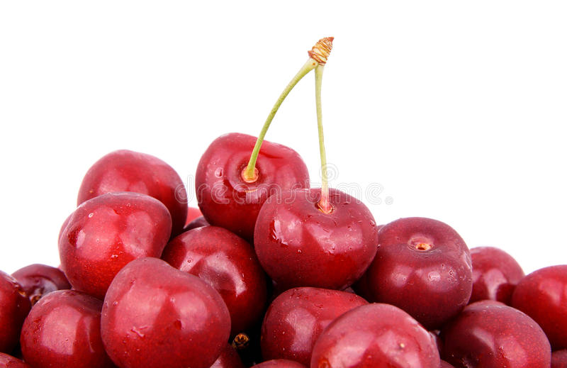 Double cherry. isolated on white background royalty free stock photos