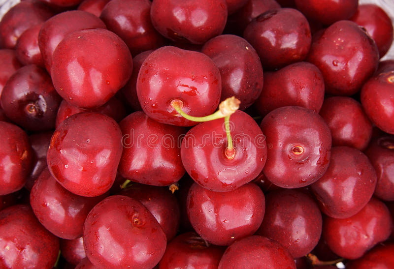 Double cherry. isolated on white background stock images