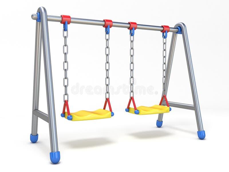 Double children swing 3D. Render illustration isolated on white background vector illustration