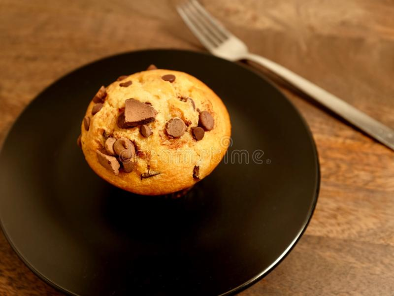 Double Chocolate Chip Muffin on. Black plate, with fork and wood table royalty free stock photo