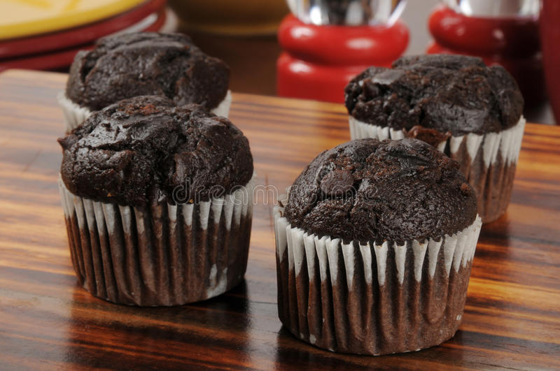 Double chocolate mini muffins royalty free stock photo