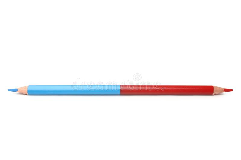 Double colored pencil royalty free stock photography