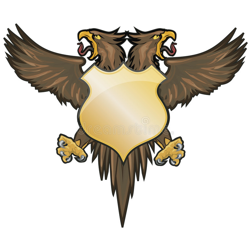 Double Crest. Double-headed bird and shield Illustration with Clipping Path royalty free illustration