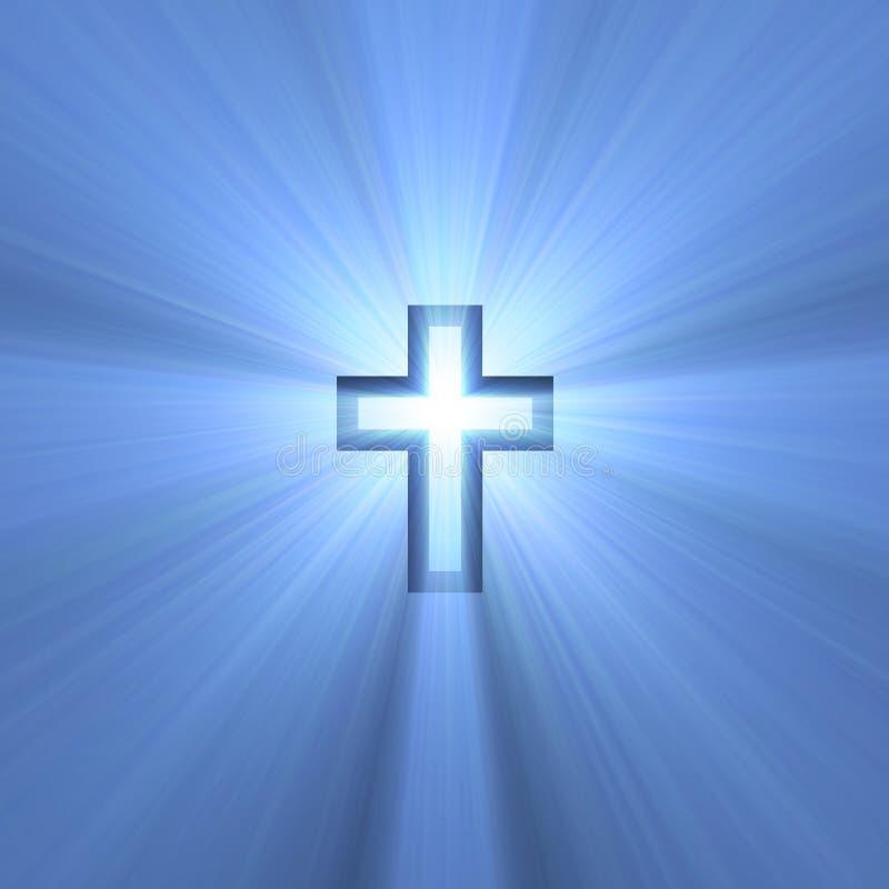 Double croix avec les épanouissements légers illustration stock